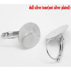 Antique Silver Earring Clip with Pad 26x15mm, 25 pairs
