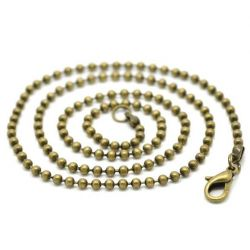 Antique Bronze Ball (2.4mm) Chain Lobster Clasp Necklace 46cm, 12 pcs