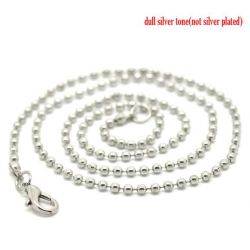 Silver Plate Ball (2.4mm) Chain Lobster Clasp Necklace 46cm, 12 pcs