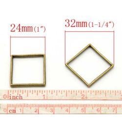 """Antique Bronze Square Frame Connectors 24mm x 24mm(1""""x1""""), 30pcs - Open back bezel"""