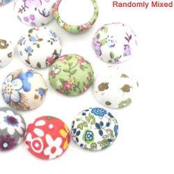 Fabric Cabochons Mixed Flower Designs, 20x10mm, 30 pcs