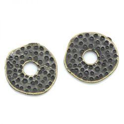 Antique Bronze Flat Spacers Beads, Dot Pattern, 11x11mm 100pcs