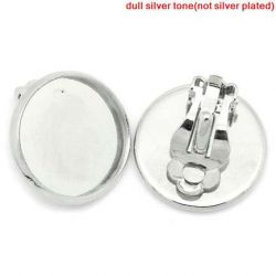 Antique Silver Earring Clip with Setting, 18mm, (fits 16mm dia) 10 pairs