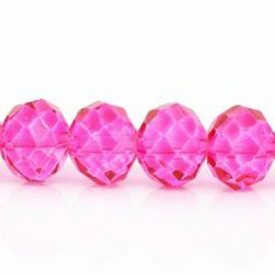 Crystal Glass Faceted Round, Fuchsia, 10mm, 1 strand - very sparkly