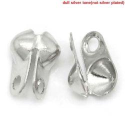 Antique Silver Connector Clasps Fit 2.4mm Ball Chain End Crimps 6x6mm, 500pcs
