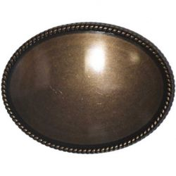 "Antique Brass Oval Inlay Bezel Buckle 3.5"" 1/Pk"