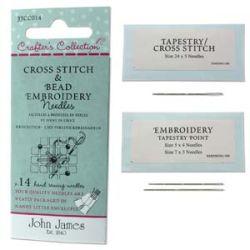 Beading and Cross Stitch, Embroidery Needles 14pcs - John James