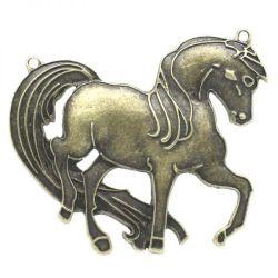 Antique Bronze Horse Charm Pendants 85x69mm, 2pcs - Huge