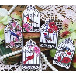 Wood Cuts Embellishment Birdcages, 5pcs