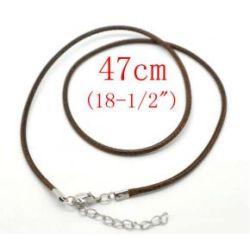"""Cotton Waxed Cord Black Necklaces, 1.5mm, 18"""", 20pcs"""