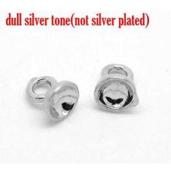 "Antique Silver Embeddable Pendant Bail 5x4mm(1/4""x1/8""), Fit 3.5mm, 50pcs"