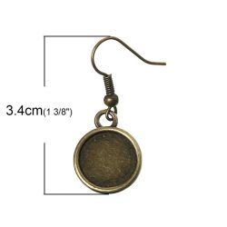 Antique Bronze Earring Hook Cabochon setting (fits 12mm dia) 34x14mm, 25 pairs