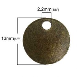 Antique Bronze 13mm Round Tag,100PCs