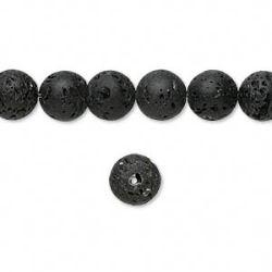 Bead, lava rock (waxed), 8mm round, 16 inch strand