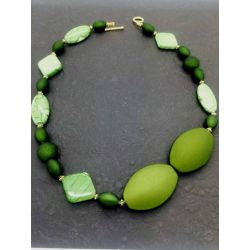 Rainforest Green Beaded Necklace, 54cm, Style 6 - Kit or Made