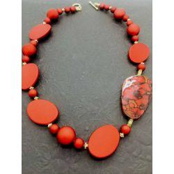 Velvet Red Beaded Necklace, 54cm, Style 3 - Kit or Made