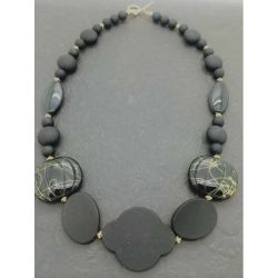 Midnight Black Beaded Necklace, 54cm, Style 4 - Kit or Made