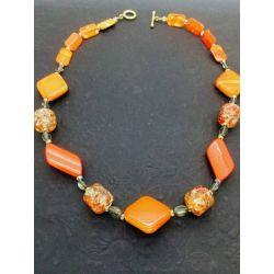 Burnt Orange Beaded Necklace, 54cm, Style 2 - Kit or Made