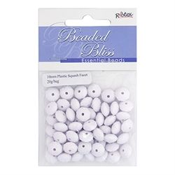 Acrylic Beads Plastic Squashed Facet 10mm White 20g - Ribtex