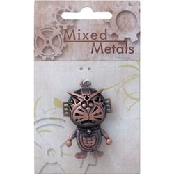 Antique Copper Feature 3D Creature with Space Hat Pendant 1pc, - Ribtex Mixed Metals