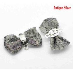 """Antique Silver  Bowknot Chain Connectors 18x9mm(3/4""""x3/8""""), 10pcs"""