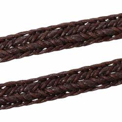 Wax Braided Rope, Flat, Coffee, 9.8mm, 5 metres
