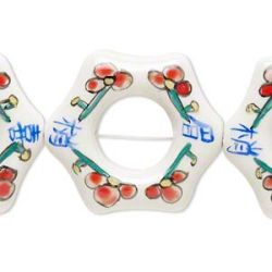 Bead, porcelain, white and multicolored, 40x36mm-44x38mm hand-painted flower and Chinese symbols, 5 pcs
