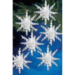 Beaded Christmas Kit - Snow Cluster - 3 1/2 inches, 12pcs