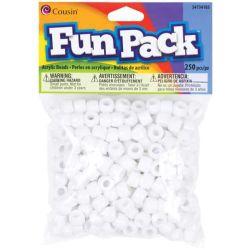 Pony Beads White - opaque, 9x6mm, 250pcs