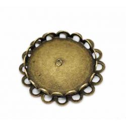 Antique Bronze Cabochon Setting, 25mm, (fit 20mm), 20pcs