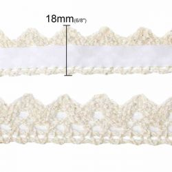 Fabric Lace Trim, Adhesive Tape, Off White, 18mm, 1 metre