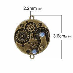 Antique Bronze Connectors, Watch Gears, Blue Rhinestone, Two Links 3.6cm x 3.cm 5pcs  - Steampunk