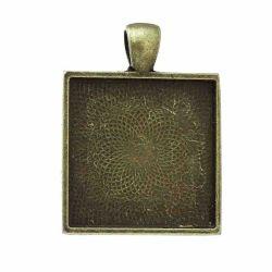 Antique Bronze Picture Frame Square Pendants 38x27mm, (fits 25 x25mm) 10pcs