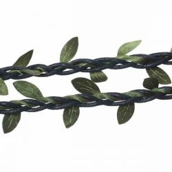 Cotton Waxed Black Cord, with Fabric Olive Leafs entwining the rope, 5 metres - great trim