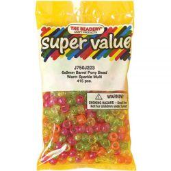 Pony Beads Warm Sparkle Multicolor, 9x6mm 415pcs