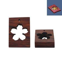 Open Back Sandalwood Pendant, Rectangle Flower Design, 34x24mm, 1pc - for UV Resin