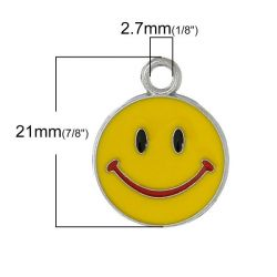 Antique Silver Charm Round Smile Design Enamel Yellow 21.0mm x 17.0mm, 2 PCs