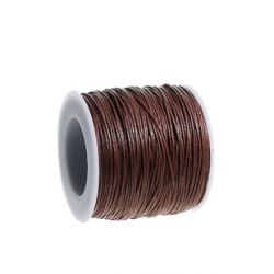 Waxed Cotton Cord Dark Coffee 1mm, approx 100 yards