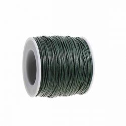 Waxed Cotton Cord, Dark Green 1mm, approx 100 yards