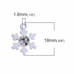 Metal Charms Christmas White Snowflake, Clear Rhinestone, 18mm x 14mm, 10PCs