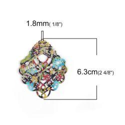 Enamelled Painted Pendant - Filigree 63mm x 50mm, 3pcs