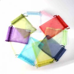 Organza Drawstring Bags, 15 cm x 10cm, assorted colours 20pcs