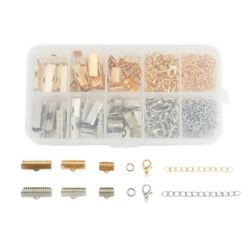 Ribbon Crimp End, Lobster Clasps, Gold Plated &  Antique Silver Mixed Kit, 1 Box (Approx 370 PCs)