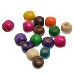 Wooden Beads Barrel 11x12mm, 100 pieces, Mixed (5.3mm hole)Wooden Beads Barrel 11x12mm, 100 pieces, Mixed (5.3mm hole)