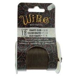 Beadsmith Non Tarnish Craft Wire Hematite, 18 ga, 10 yards - Lacquered