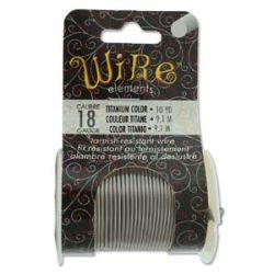 Beadsmith Non Tarnish Craft Wire Titanium, 18 ga, 10 yards - Lacquered