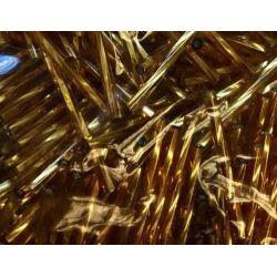 Bugle Beads, 25mm, Gold Twisted, 25 grams  Czech Glass
