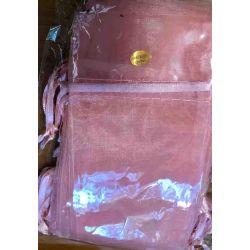 Organza Drawstring Bags, Pink / Salmon, 7.5cm x 14cm 12 pcs