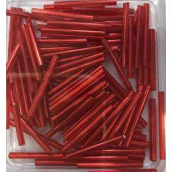 Bugle Beads, 25mm, Red, 25 grams  Czech Glass