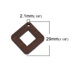 Wood Pendants Square Brown Hollow 2.9cm x 2.9cm, 10 PCs